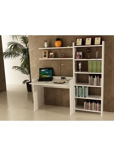 Sanal Mobilya Sirius Kitaplıklı 2 Raflı Çalışma Masası 90-7-6B Beyaz